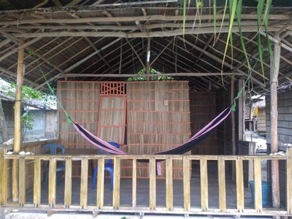 Our basic but VERY affrdable beachfront bungalow at Mambetron Homestay