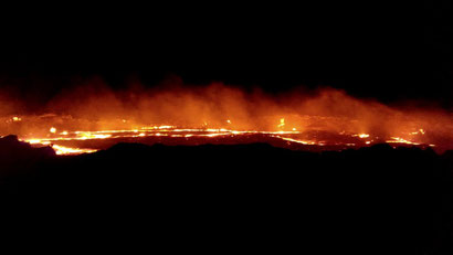 The world's only 'lava lake' at Arte Ale, Ethiopia. Dante Harker