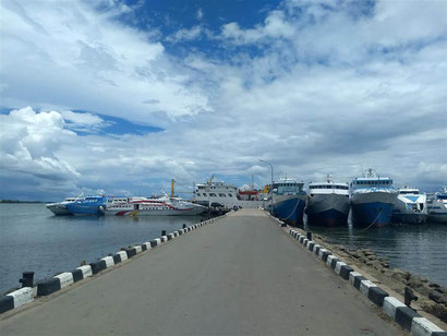 The speedboat ferry terminal at Sorong where you will get your boat  to your chosen island