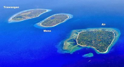 Gili Air from the sky, you can walk around it in an hour