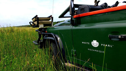 Our private safari jeep at White Pearl Resorts, Mozambique. Dante Harker