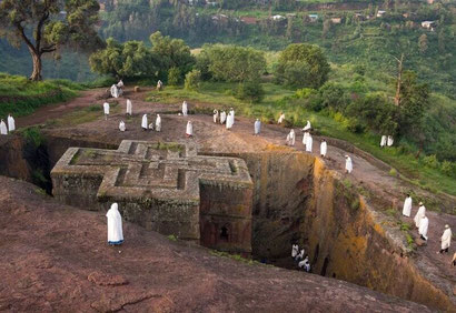 The rock hewn churches at Lalibela, Ethiopia. Dante Harker
