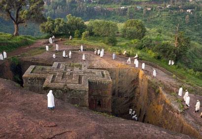 The rock hewn churches at Lalibela, Ethiopia. Dante Harker