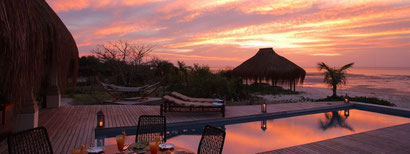 Sunset from our private pool at Azura Benguerra, Mozambique. Dante Harker