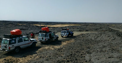 Our jeeps from Ethio Travel and Tours in the Afar region, Ethiopia. Dante Harker