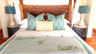 The enormous bed in our villa at Azura Benguerra, Mozambique. Dante Harker