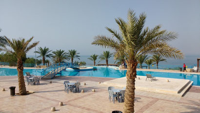The pool facing the dead sea at the Amman Beach. Dante Harker