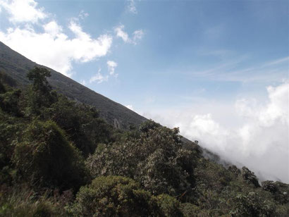 The steep sided volcano