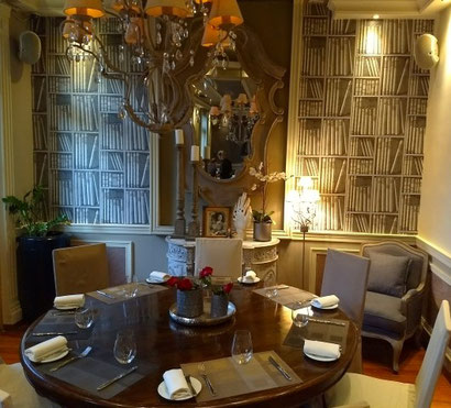 The sumptuous dining room at Aleria, Athens