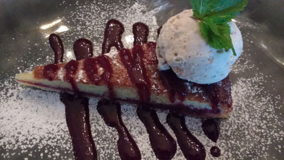 My perfect cherry and almond tart with snickers ice cream at Bistro Michel, Johannesburg. Dante Harker
