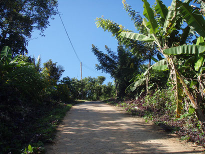 The concrete path on the way up to the Hill Tribe
