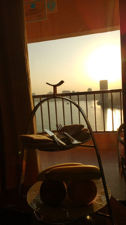 The unforgettable view from our luxurious room at the Intercontinental Semiramis, Cairo.