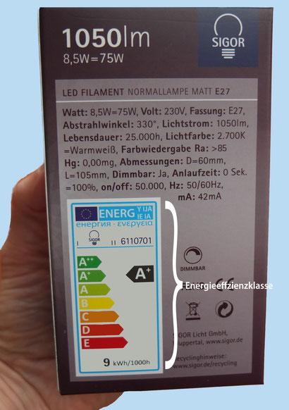 Erklärung LED-Leuchtmittel Energieeffiizenzklasse