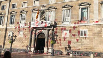 Протестная акция в Барселоне