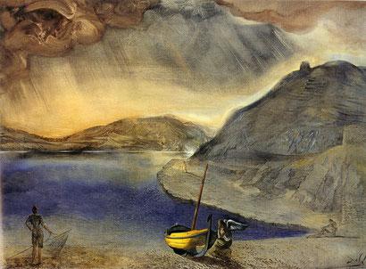 Пейзаж Порт-Льигата во время приближающегося шторма