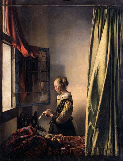 Девушка, читающая письмо у открытого окна - Ян Вермеер