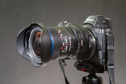 Z6 mit Laowa 12mm/2.8 + 1,4-fach Magic-Shift-Converter + Techart TZE-01