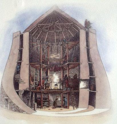 Rekonstruktion des täglichen Lebens in einem Broch / © Historic Scotland