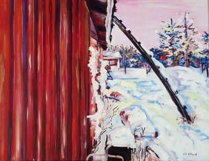 La cabane au fond du jardin, peinture à l'huile