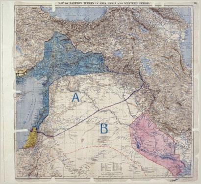 """Karte vom 8. Mai 1916: Mark Sykes und François Picot teilen die Levante in eine französische """"blaue Zone"""" A, eine britische """"rote Zone"""" B und ein international verwaltetes Palästina."""