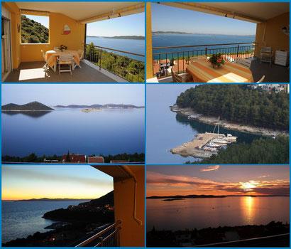 DeLuxe PENTHAUS PANORAMA***** - APARTMENT: überdachte Terrasse mit Panoramablick und Sonnenuntergang