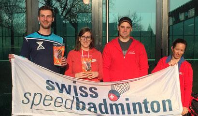 Sieger Season OPENing 2017 (v.l.n.r. J. Wunderlich (Herreneinzel), N. Herzog (Dameneinzel), E. Meier (Schnüerlidoppel), C. Boyer (Schnüerlidoppel)