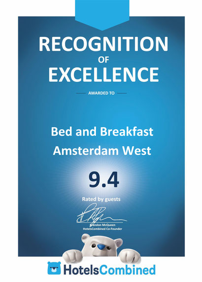 Recognition of Excellence Award hotelscombined for bed and breakfast amsterdam west 9.4/10
