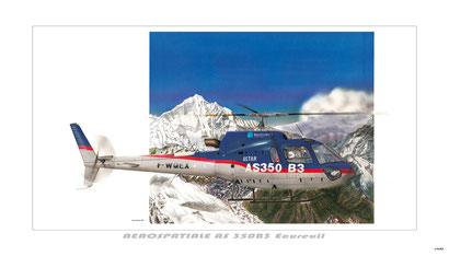 "ref: TN02 - Aerospatiale AS350B3 ""Ecureuil"" (70 X 40 cm)"