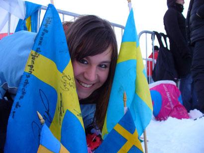 Als Schweden-Fan bei der Vierschanzentournee 2005/2006.