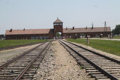Eingang und Schienen in Birkenau