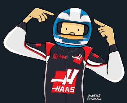 Romain Grosjean by Muneta & Cerracín - Romain Grosjean en su Haas VF-16 en 2016