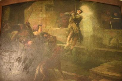 Miracle représenté sur un tableau de la sacristie de la basilique