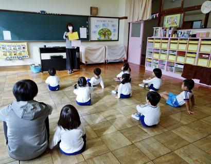 幼稚園年少さんの英語のお勉強風景