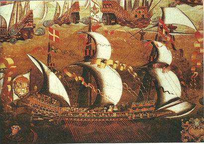 Galleass (possibly the Girona) from The English and Spanish fleets engaged, 1588.  Oil painting, English school, late 16th century