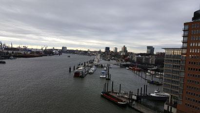 """Der Blick auf den Hafen vom Panoramafenster der Elbphilharmonie """"Elphi"""" Hamburg"""