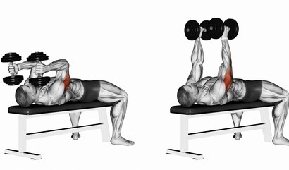 tricep exercise lying dumbbell extension