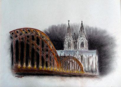 Kölner Dom mit Hohenzollernbrücke 40x50 cm