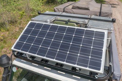 Solar Panel on an overland camper Defender