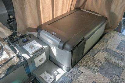 Compressor fridge inside the overland Defender