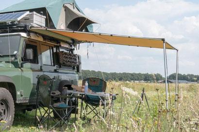 ARB 2500 Awning on a Defender overland camper
