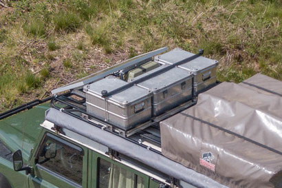 Zarges aluminium boxes on an overland Defender