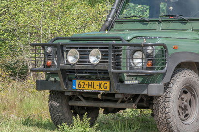 Bullbar on a Land Rover Defender with aircon