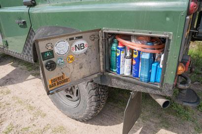 Side locker on our Land Rover Defender 110