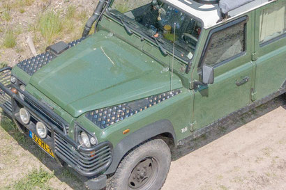 Chequer plate on the Defender for sturdiness and good looks