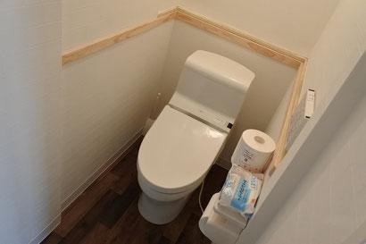 スペース内に温水洗浄付きトイレを完備