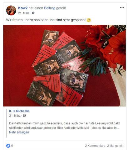 Facebook-Kommentar Kow2 zur ersten Lesung in Hamburg