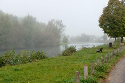 Die Meuse bei Stenay am Morgen.