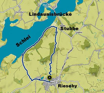 Bild: Beschriftet Karte der Wanderroute von Rieseby über Stubbe zur Lindaunisbrücke und zurück.
