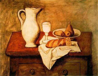 """Pablo Piacasso, """"Ancora la vita con brocca e pane"""" (1921)"""