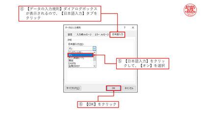 ②【データの入力規則】→【日本語入力】タブ→【日本語入力】をオン